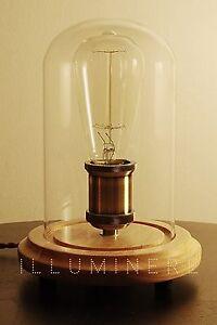 Edison Vintage Industrial Table Lamp Wood Glass Desk Bedside Cafe Cloche Edward