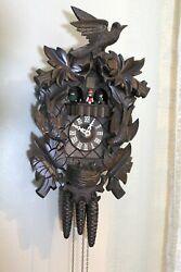 Gueissaz-Jaccard Cuckoo Clock - Germany - Musical - Birds Nest - Leaves - 1980s