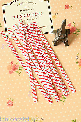20pc scarlet RED STRIPE Twist Ties zakka wired colorful party cello bag ties