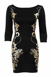 Ladies Gold Embossed Baroque Leaf Print 3 Quarter Sleeves Bodycon Women's Dress