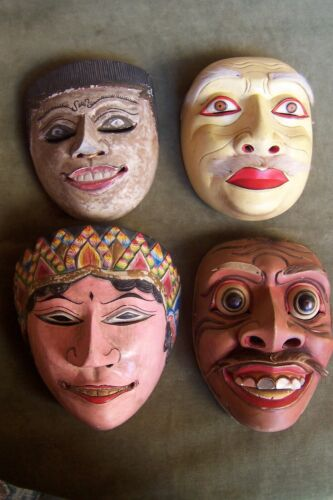 Bali-Java-Indonesia-MASKS-Topeng -4 pieces-wood-handcarved