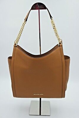 NWT MICHAEL Michael Kors Newbury Brown Leather Chain Shoulder Bag Tote New $328