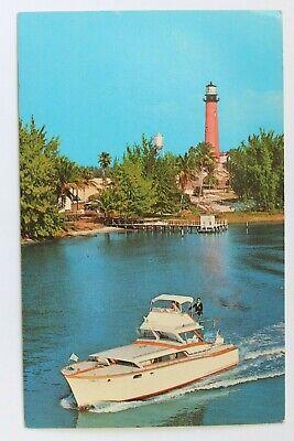 Postcard DEEP-SEA FISHING BOAT PASSING JUPITER LIGHTHOUSE, JUPITER, FLORIDA Deep Sea Fishing Boat