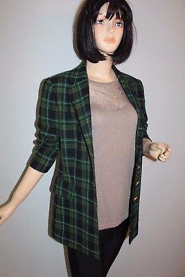Plaid Jacke Mantel (BETTY BARCLAY Vintage TRUE VTG Blazer Jacke kariert Wolle PLAID Boyfriend Jacket)