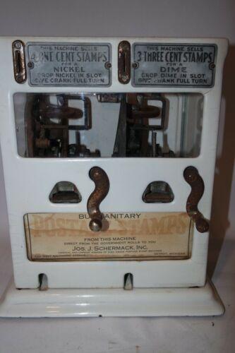 Schermack Dual 3 & 1 Cent Porcelain Sanitary Postage Station Stamp Dispenser