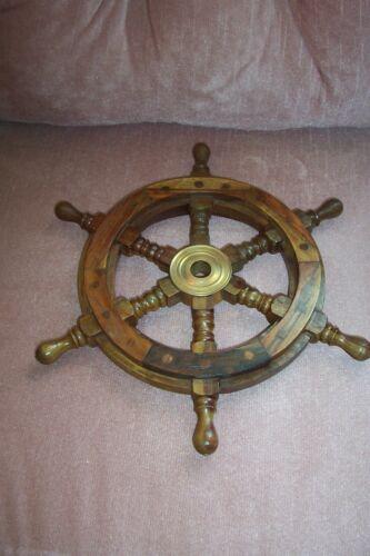 "12.5"" Ship Wheel Nautical Wall Decor Solid teak Wood Brass Center Captain Helm"