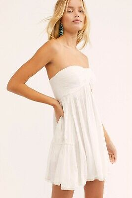NEW FREE PEOPLE Sz L ACROSS THE SEA TUNIC FLOWY MINI DRESS WHITE