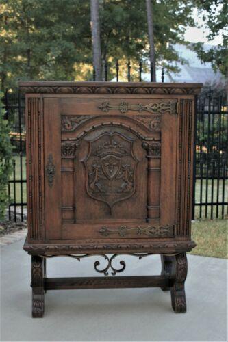 Antique French Oak Wine Cabinet Bar Liquor Cabinet Trestle Base Neo Renaissance