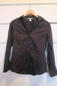 H&M Black Button-Up Blouse Size 12