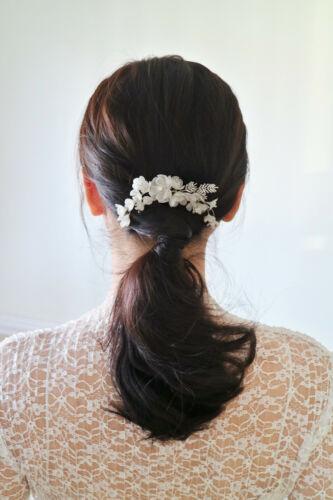 Swarovski Crystal Encrusted Camellia Hair Comb in Sterling Silver | Handmade