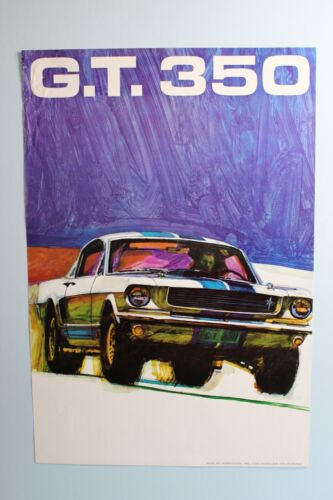 Original 1965 1966 Carroll Shelby GT-350 Mustang Racing Poster SAAC