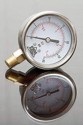 Prm 0-30 Psi Pressure Gauge 2.5 Ss Case 14 Npt Brass Bottom