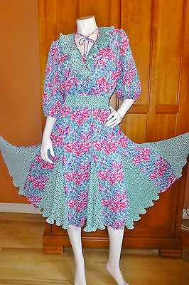 80s Dresses   Casual to Party Dresses Vtg 80s Susan FREIS DRESS Pleat Ruffles Boho Chic Hippie Festival GIPSY midi $75.65 AT vintagedancer.com