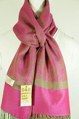 NEW DG Pashmina Scarf Wrap Paisley Hot Pink/Green 70% cashmere 30% silk - Hot Pink Scarf