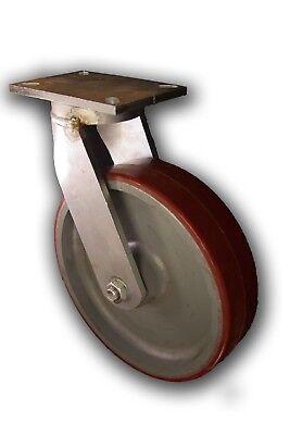 12 X 3 Heavy-duty Kingpinless Swivel Caster W Polyurethane Cast Iron Wheel