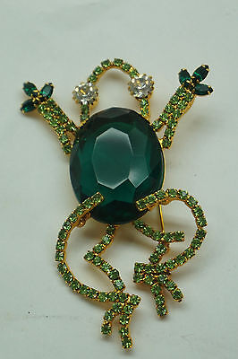Ivana Trump Vintage Brooch Jewelry Pin Rhinestones Green Frog 4In Long Signed