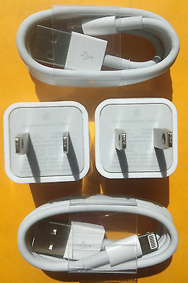2X Authentic Original Apple Iphone 6 5S Lightning Usb Data Cable Charger Cube