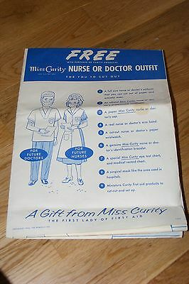 Vintage 1954 Miss Curity Child Sized Nurse or Doctor Outfit Cut-Out Costume RARE (Kids Nurses Outfit)