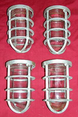 4 Old Industrial Cage Lights Lighting Light Explosion Proof Vapor Loft Caged Sub
