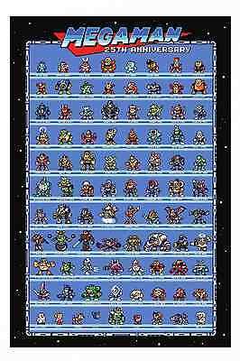 Mega Man 25th Anniversary Retro Poster - Robot Masters 1-10 + More Rock Man Wow