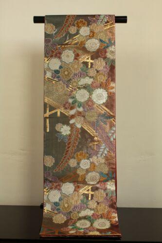 "Non-used Japanese Kimono Belt ""FUKURO OBI"" SILK Kinsai 金彩 Exclusive product"