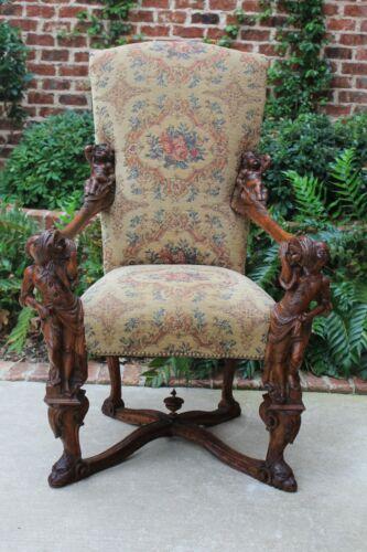 Antique Italian BESAREL Walnut Blackamoor Arm Chair BAROQUE Mid-19th C RARE
