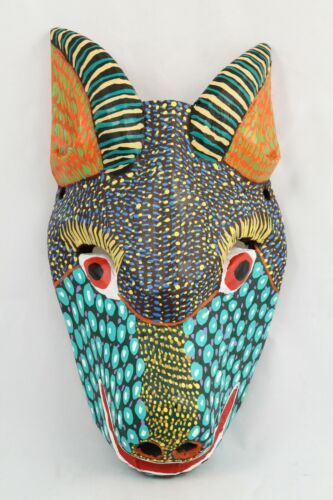 Wood Hanging Mask Hand Crafted/Painted Décor Mexican Folk Art Signed Goat