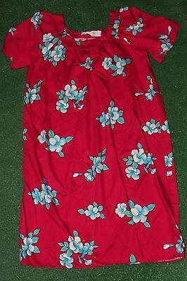 Original Vintage 1990's~Made In Hawaii RED MuuMuu Floral Dress (Size Large) tiki