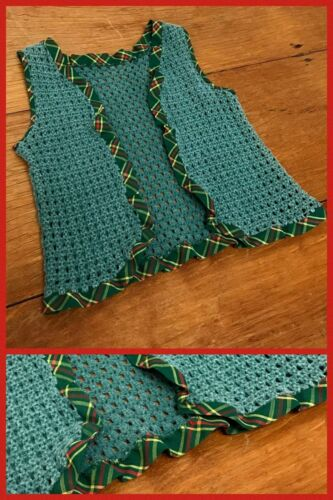 1960s Vest Hippy Boho Green Knitted Woven Sleeveless Open Front Plaid Trim Sz 2T