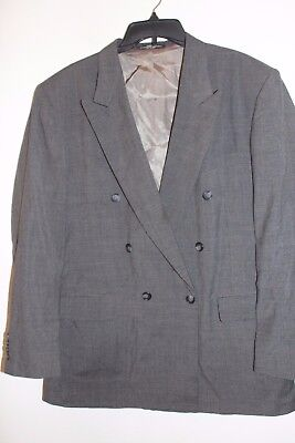 Men's Stanley Blacker Brown Houndstooth Lined Dbl Breasted Blazer Sz 42R CB6-16