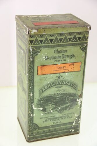Vintage Apothecary Tansy Leaf Botanical Store Tin Can Parke Davis Detroit