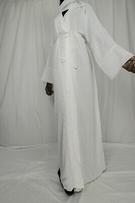 NEW White Abaya /Dubai Maxi Dress/ Caftan/kaftan Robe *USA  SELLER*