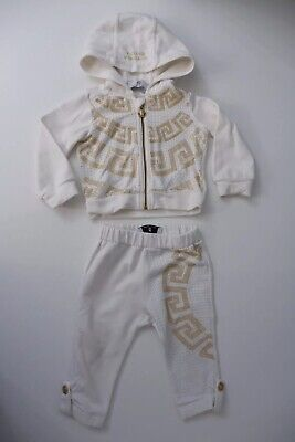 Young Versace Tracksuit Age 9 Months Cream  VGC Hoodie & Bottoms