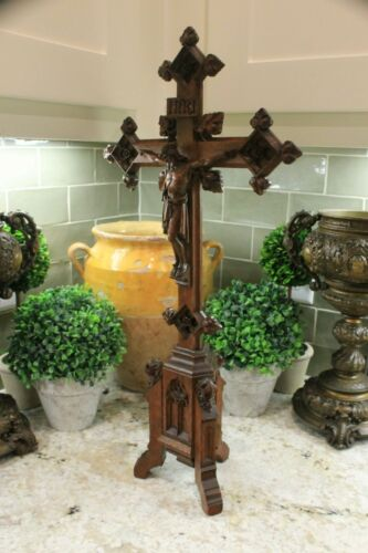 Antique French GOTHIC Altar Crucifix Cross Jesus Christianity Catholic Cathedral