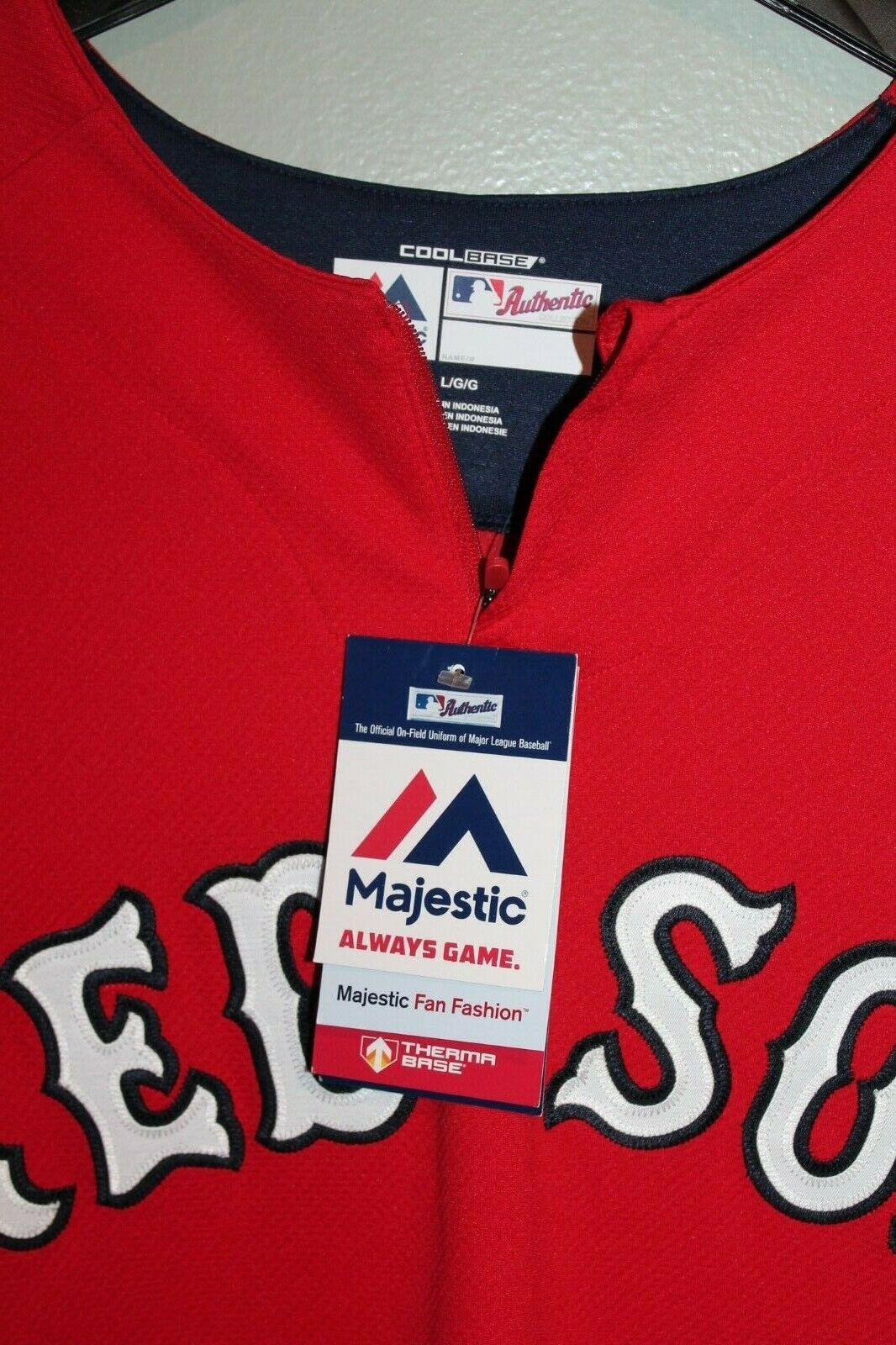 Boston Red Sox Majestic MLB Authentic Cool Base On-Field 3/4