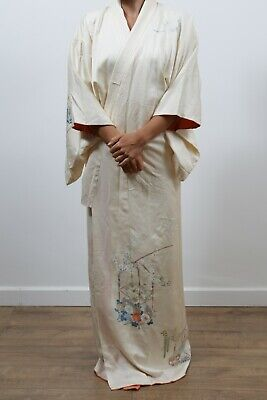 Authentic traditional vintage Tsukesage Japanese Kinsha silk kimono