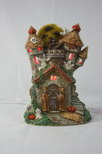 Vintage Halloween Ceramic Haunted House Ghost Castle Moon 3 Lights Pacific Rim