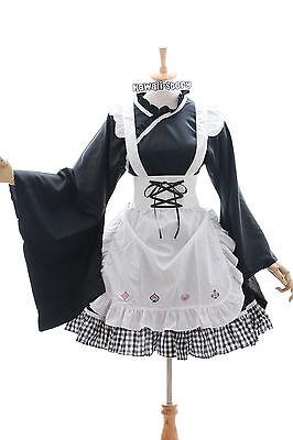 JL-606 Kimono schwarz Maid schwarz Zimmermädchen Gothic Lolita Kostüm (Mädchen Kimono Kostüme)