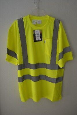 Key Apparel ANSI II Class 3 Hi-Visibility Pocket T-Shirt Hi-Vis Yellow Sz XLR