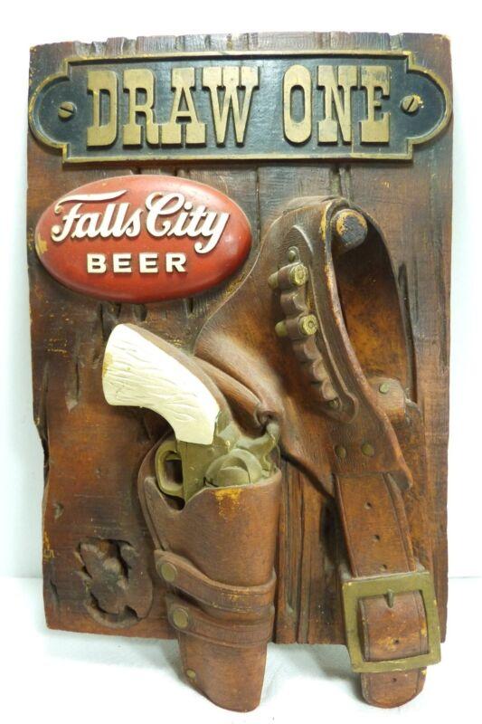 FALLS CITY BEER Vintage Store Display Advertising Sign Pistol Holster 3d HtF