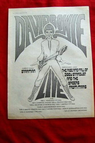 RARE DAVID BOWIE 1972 ORIGINAL VINTAGE POSTER ADVERT ZIGGY STARDUST TOUR STARMAN