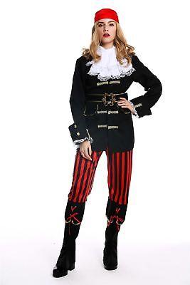 Kostüm Damen Frauen Karneval Halloween Piratin Seeräuberin Gr. S/M W-0210 (Weibliche Piraten Halloween Kostüme)
