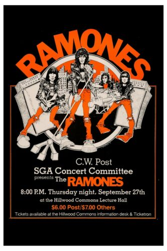 Punk: The Ramones at Brookville New York Concert Poster 1978  12x18