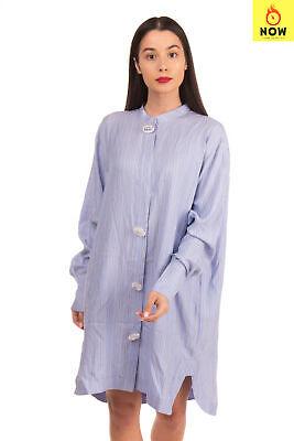RRP €680 J.W.ANDERSON Silk Shirt Dress Size 12 / L Striped Mandarin Collar