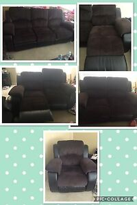 Power Reclining couch, love seat and chair