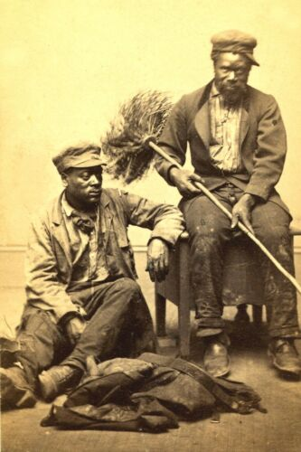c1865-Black History-Two African American Chimney Sweeps-8x10 Portrait PHOTO