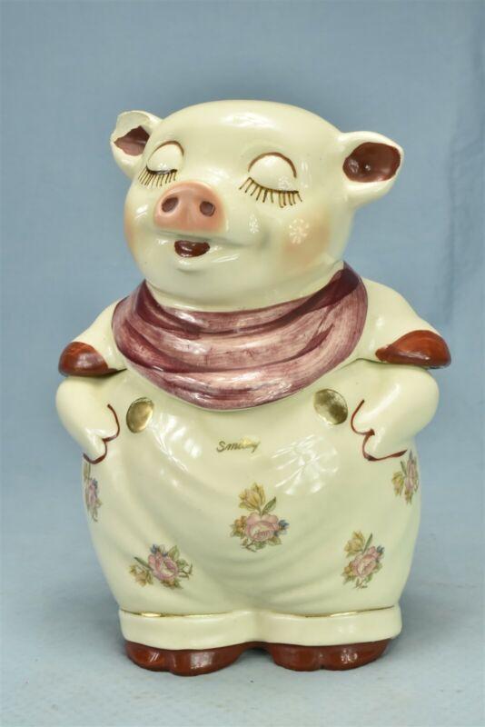 Vintage SHAWNEE POTTERY SMILEY PIG COOKIE JAR RARE FLOWER STYLE #00390