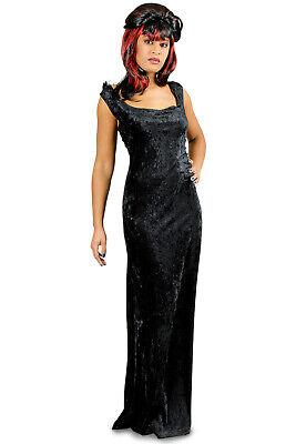 Kostüm schwarzes Kleid Samt Hexe Teufel Vampirin Gr.36-46 Karneval Halloween