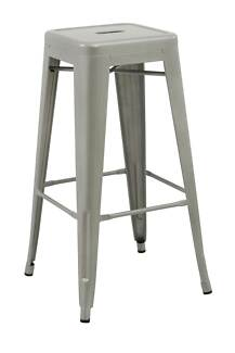 Set of 4x 75cm Tolix Retro Reproduction Cafe Bar Stools - Silver