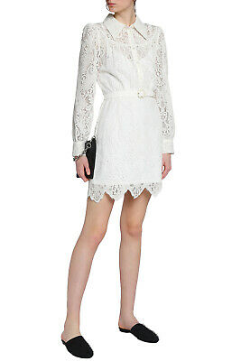 RRP €495 MCQ ALEXANDER MCQUEEN Lace Shirt Dress Size 36 2XS-XS Scalloped Belted